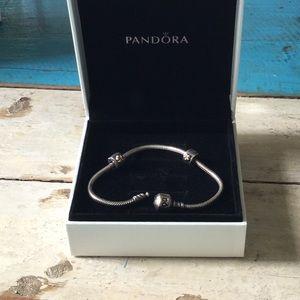 Pandora bracelet with 2 clip part gold charms!